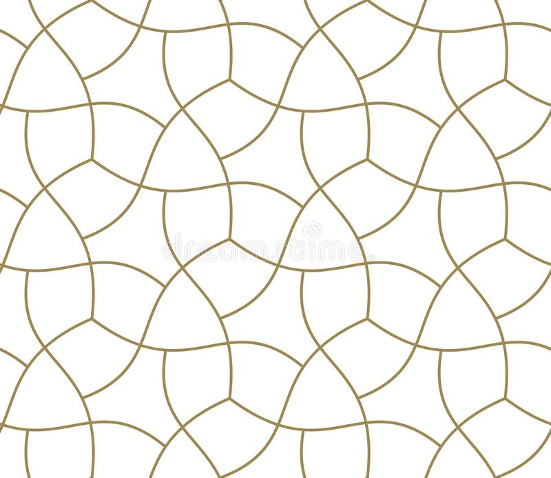 Seamless pattern with abstract geometric line texture, gold on white background. Light modern simple wallpaper, bright royalty free illustration