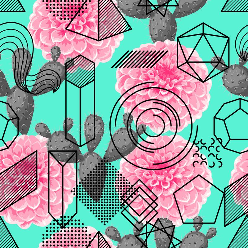 Seamless pattern with abstract geometric shapes, flower and cactus. Line art background stock illustration