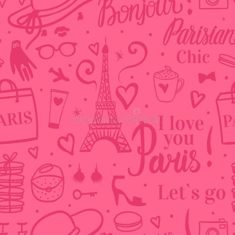 Seamless pattern Abstract girly design. Eiffel Tower with sketch fashion illustrations. Vector Pink background. I love you Paris. Lets go vector illustration