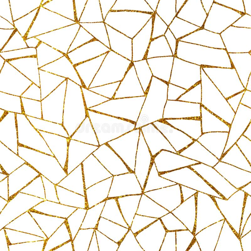 Seamless pattern with abstract gold simple elements, mosaic on a white background. Hand drawn doodle illustration with lines. Design template, fabric stock photography