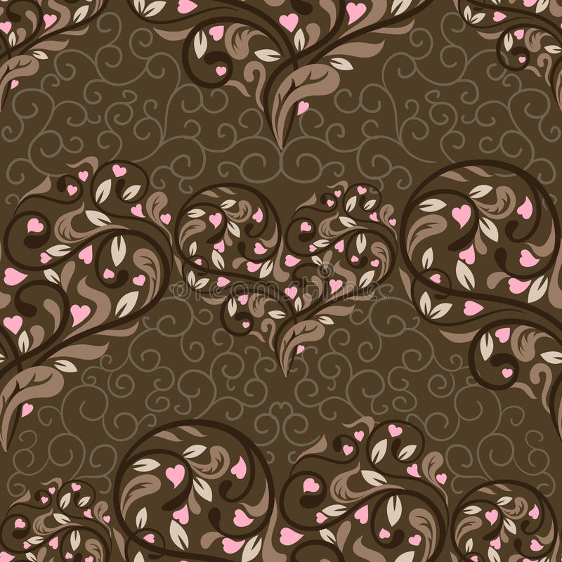 Seamless pattern with abstract heart royalty free illustration