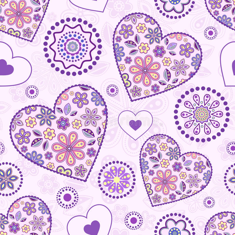 Seamless pattern with abstract hearts vector illustration