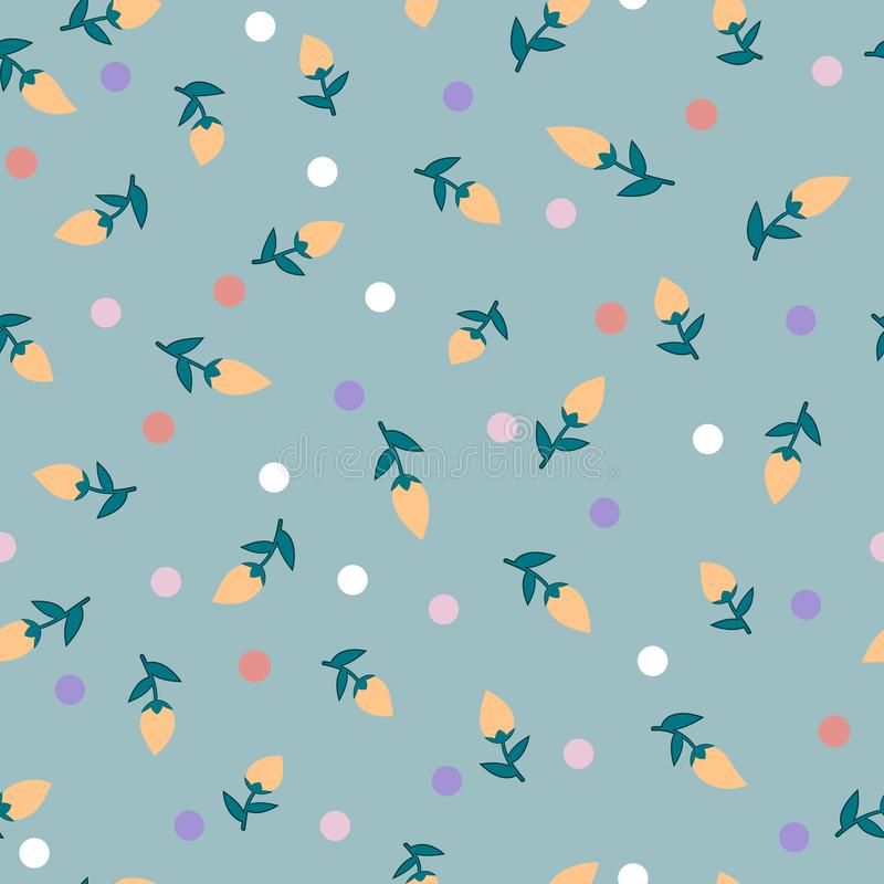 Seamless pattern of abstract light orange flower buds with blue-green leaves and colorful dots, vector stock illustration