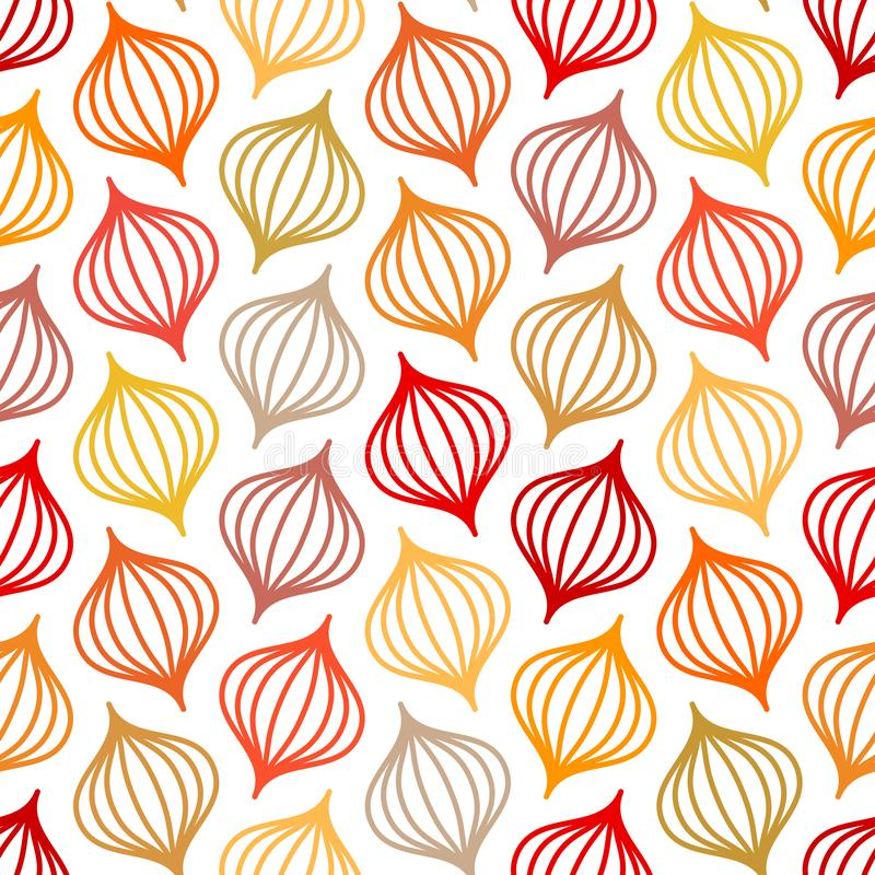 Seamless Pattern Abstract Onions Lines Autumn Colors royalty free illustration