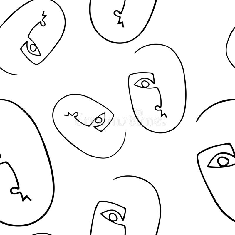 Seamless pattern with abstract outline silhouette of human face.Black  silhouette on white  background. Trendy minimalistic faces stock illustration