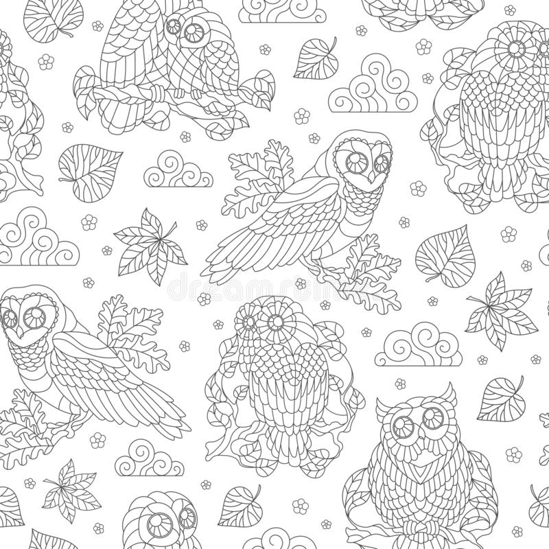 Seamless illustration with abstract owls, leaves and flowers, dark outline illustration on white background stock illustration