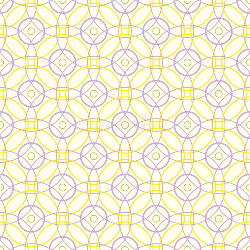 Seamless pattern of abstract pastel yellow and lilac circles on a light yellow background for fabrics, wallpapers, tablecloths. Seamless pattern of abstract royalty free illustration