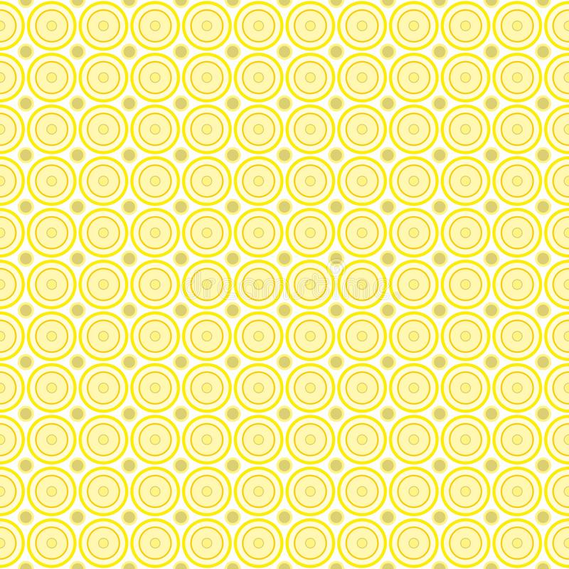 Seamless pattern of abstract pastel yellow and lilac circles on a light yellow background for fabrics, wallpapers, tablecloths. Prints and designs. The EPS stock illustration