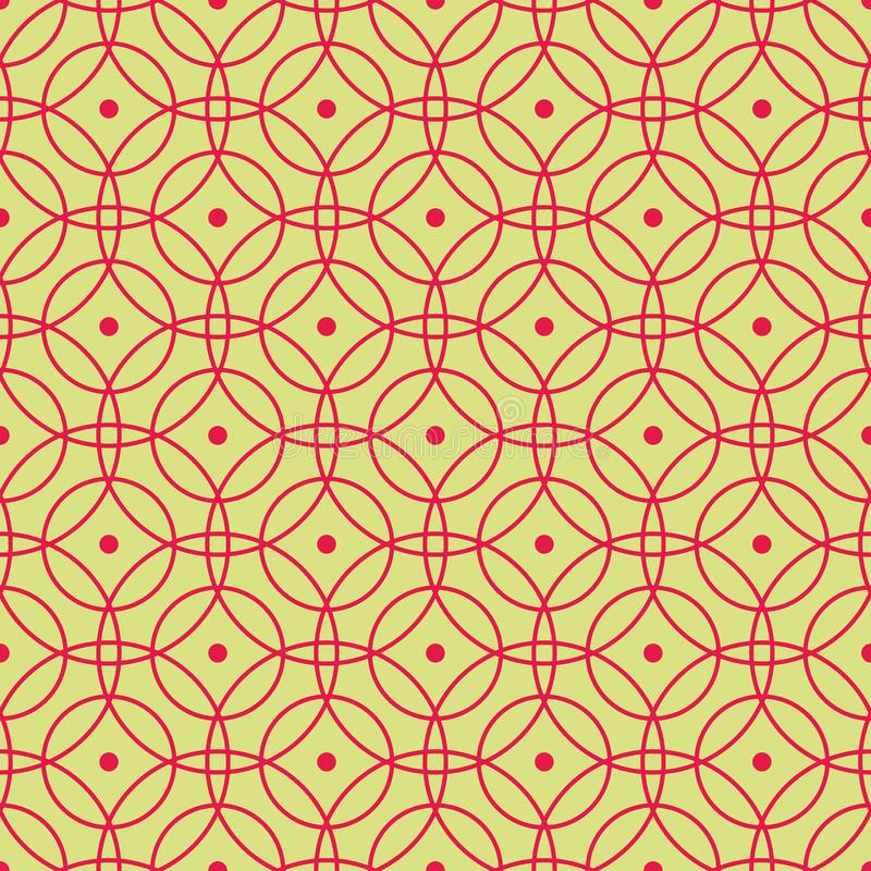 Seamless pattern of abstract red circles on a yellow-green background for fabrics, wallpapers, tablecloths, prints and designs. The EPS file vector has a vector illustration