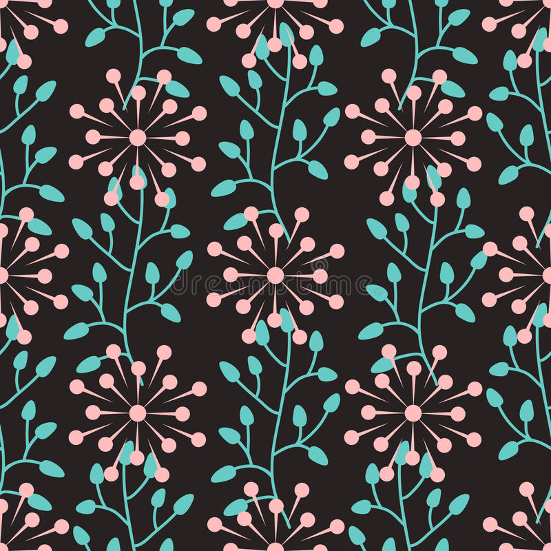 Seamless pattern with abstract round flowers and plant elements. stock illustration