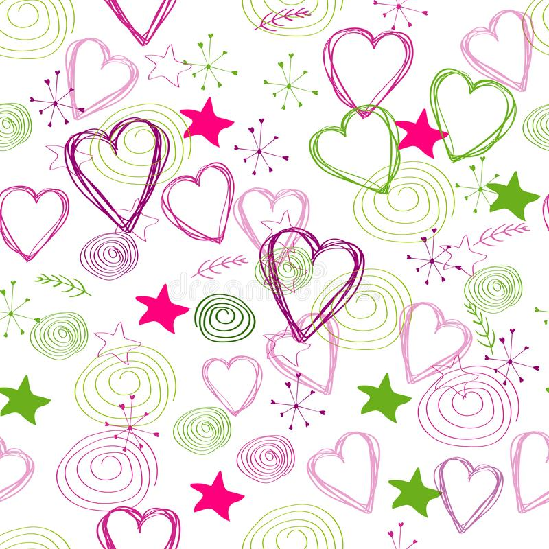 Seamless pattern: abstract shapes, hearts, stars isolated on white background. Can be used for packaging. Flat vector. stock illustration