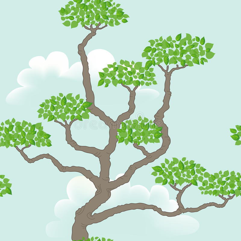 Seamless pattern with abstract tree vector illustration