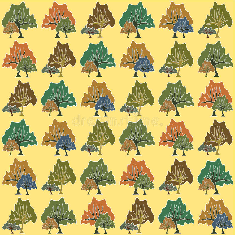 Seamless pattern of abstract trees vector illustration