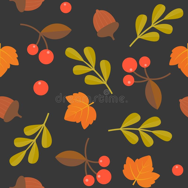 Seamless pattern, acorn, maple and wild berries stock illustration