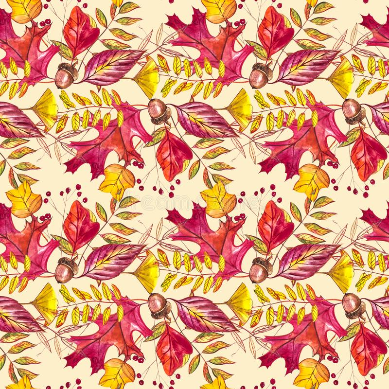 Seamless pattern with acorns and autumn oak leaves in Orange, Beige, Brown and Yellow. Perfect for wallpaper, gift paper vector illustration