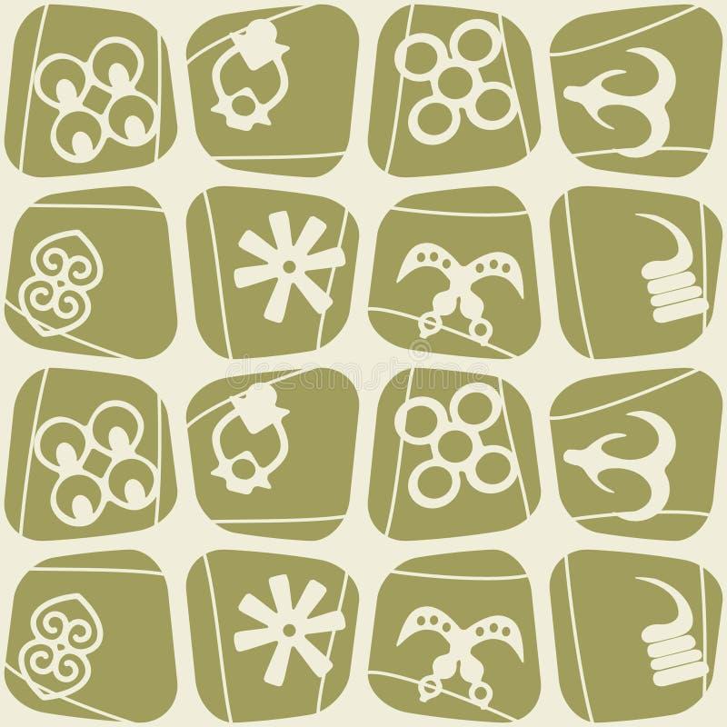 Seamless Pattern With Adinkra Symbols Stock Vector Illustration Of