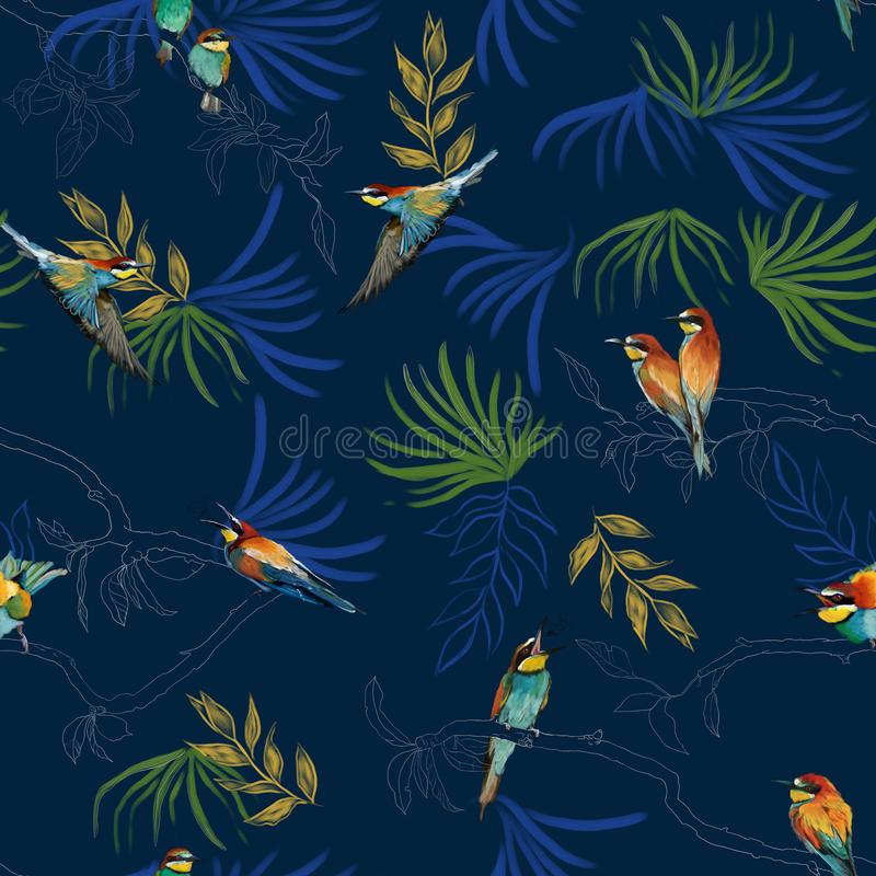 Seamless pattern of african bee eater stock illustration