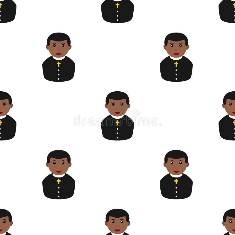 Black Priest Avatar Icon Seamless Pattern stock illustration