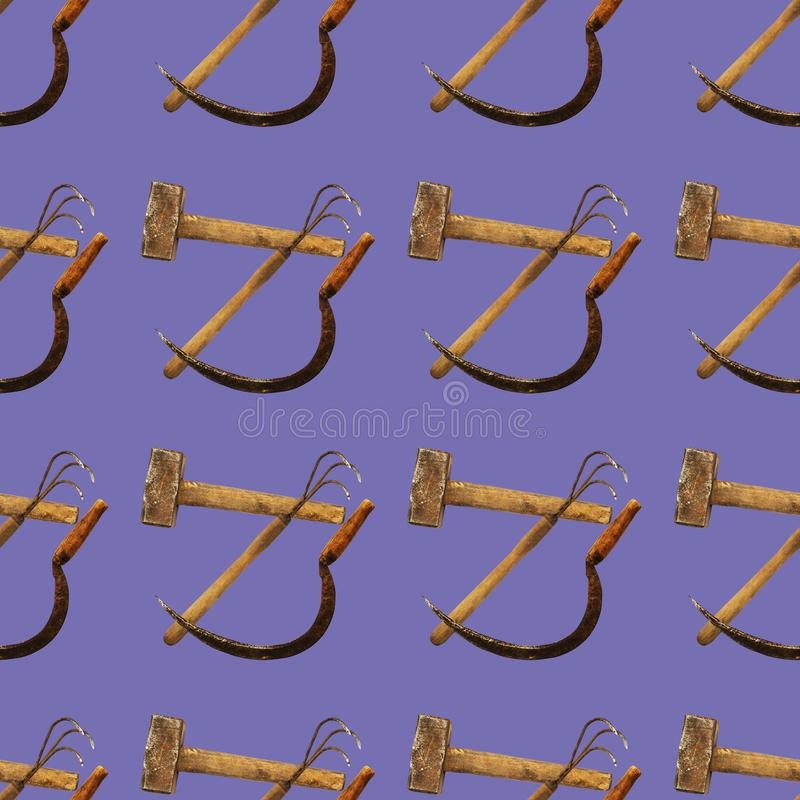 Seamless pattern with agricultural vintage tools on dark blue background royalty free stock photography