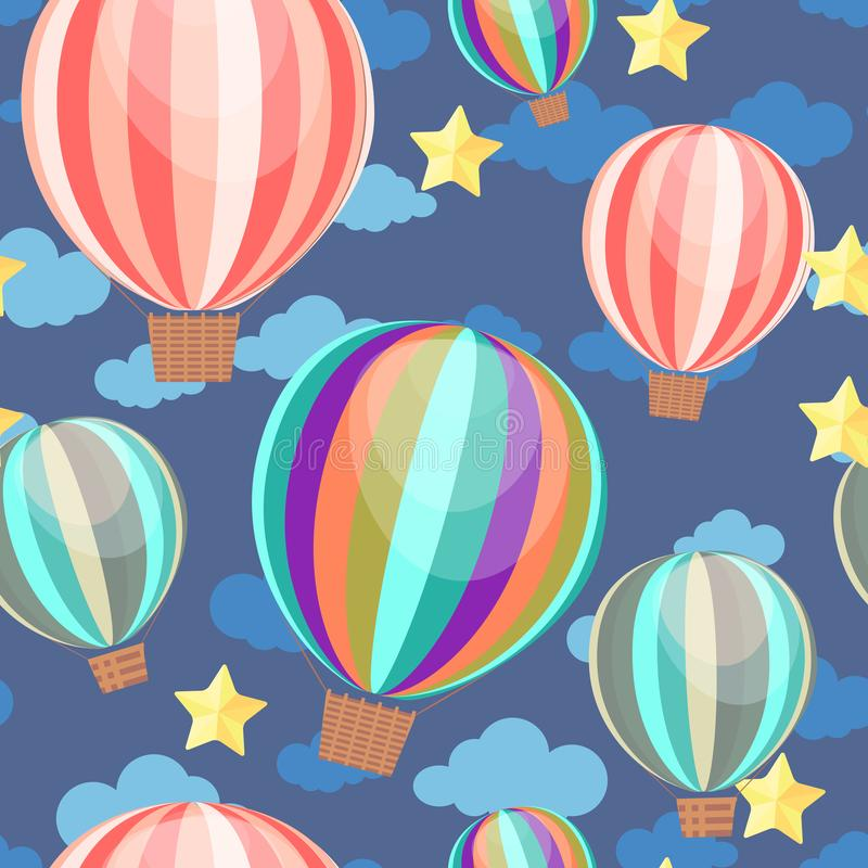Seamless pattern with air balloons and stars. Wallpaper for children room stock illustration