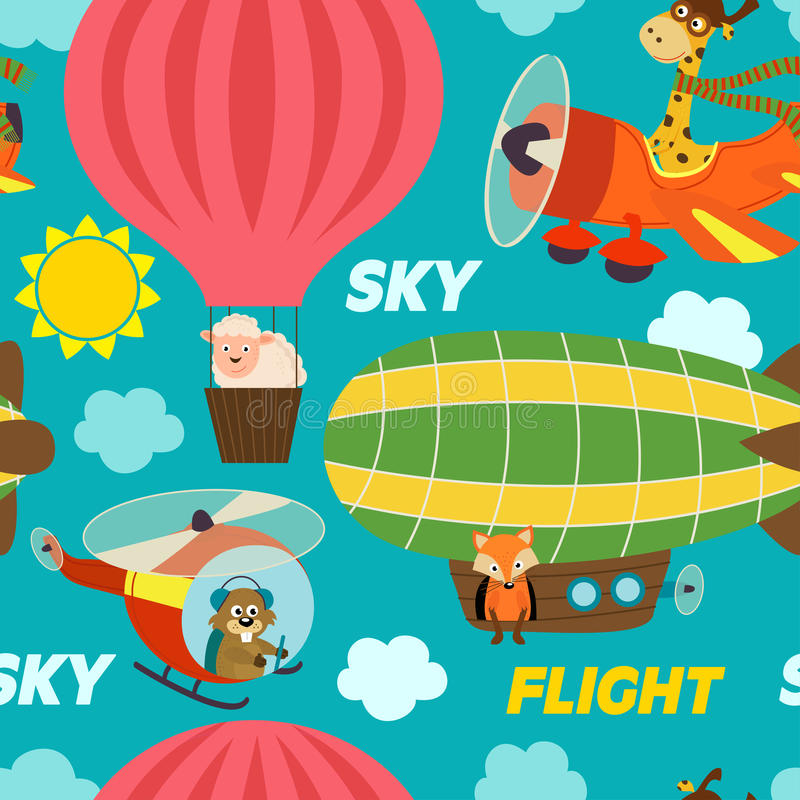 Seamless pattern air transports with animals stock illustration
