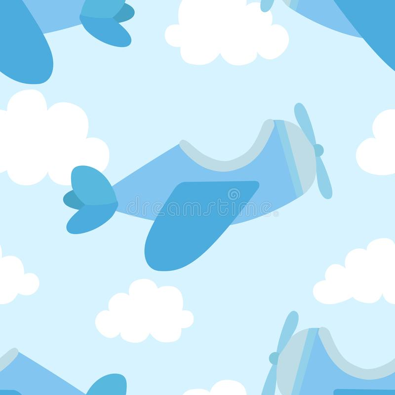 Seamless pattern of airplane image and clouds in blue shades. Illustration for a boy at a baby shower party. Background for greeti. Ng or invitation cards stock illustration