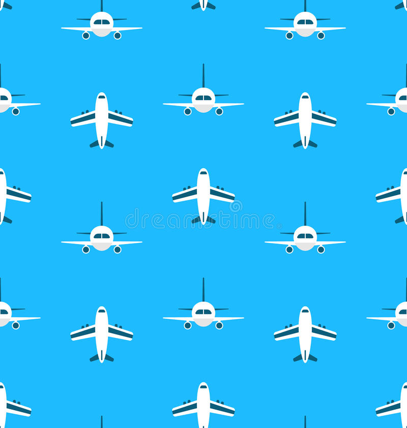 Seamless Pattern with Airplanes stock illustration