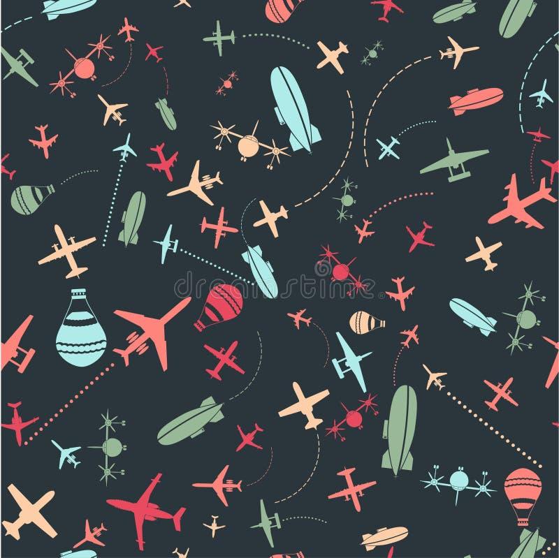 seamless pattern. Airplanes sky set stock illustration