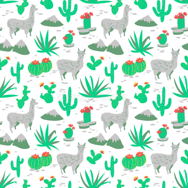 Seamless pattern with alpaca and cactus. Seamless pattern with alpaca - south america`s lama. Background with lama and cactus in cartoon style. Vector floral royalty free illustration