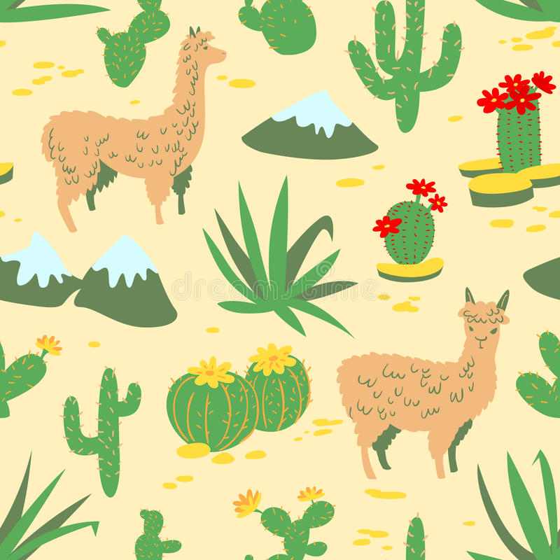 Seamless pattern with alpaca and cactus. Seamless pattern with alpaca - south america`s lama. Background with lama and cactus in cartoon style. Vector floral stock illustration