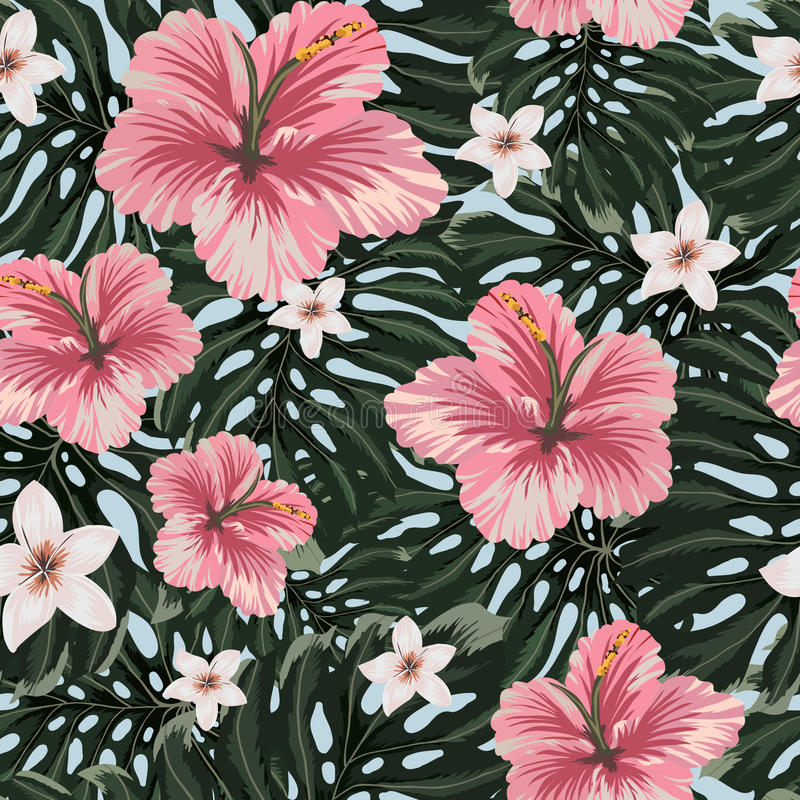 Seamless pattern with amazing hawaiian flowers. stock illustration