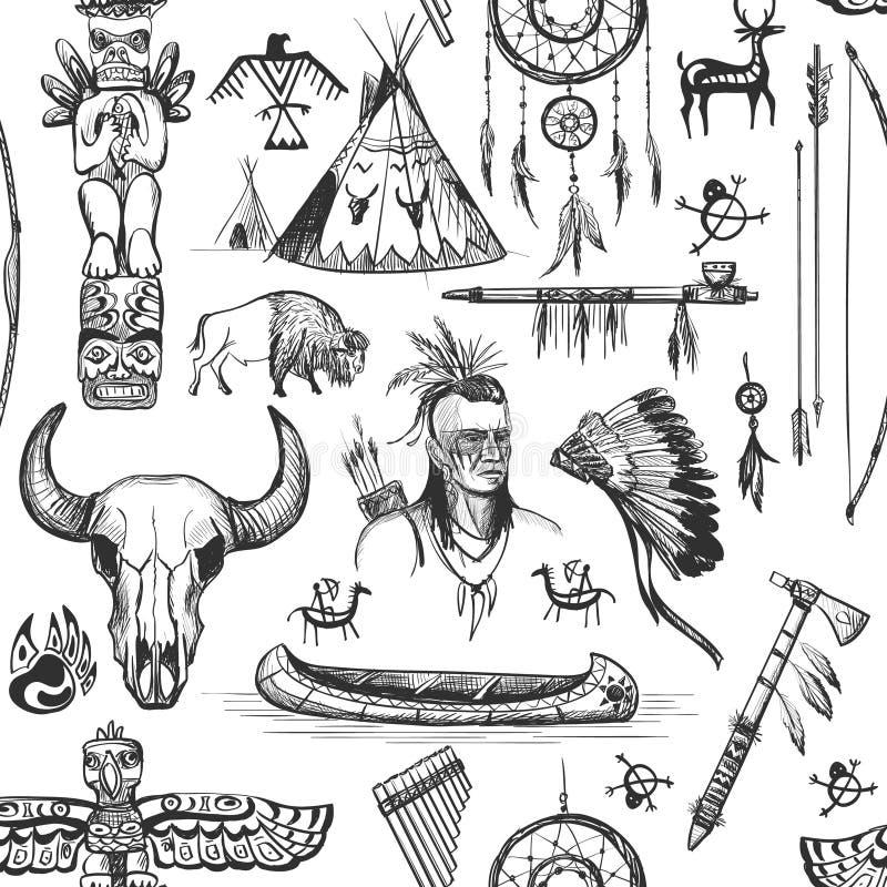 Seamless Pattern American Tribal Native Symbols Stock Vector