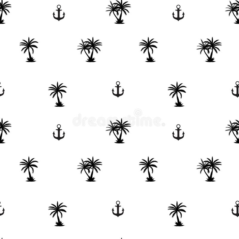 Seamless pattern with anchor and coconut palm tree island. Tropical wallpaper background. Vector Illustration stock illustration