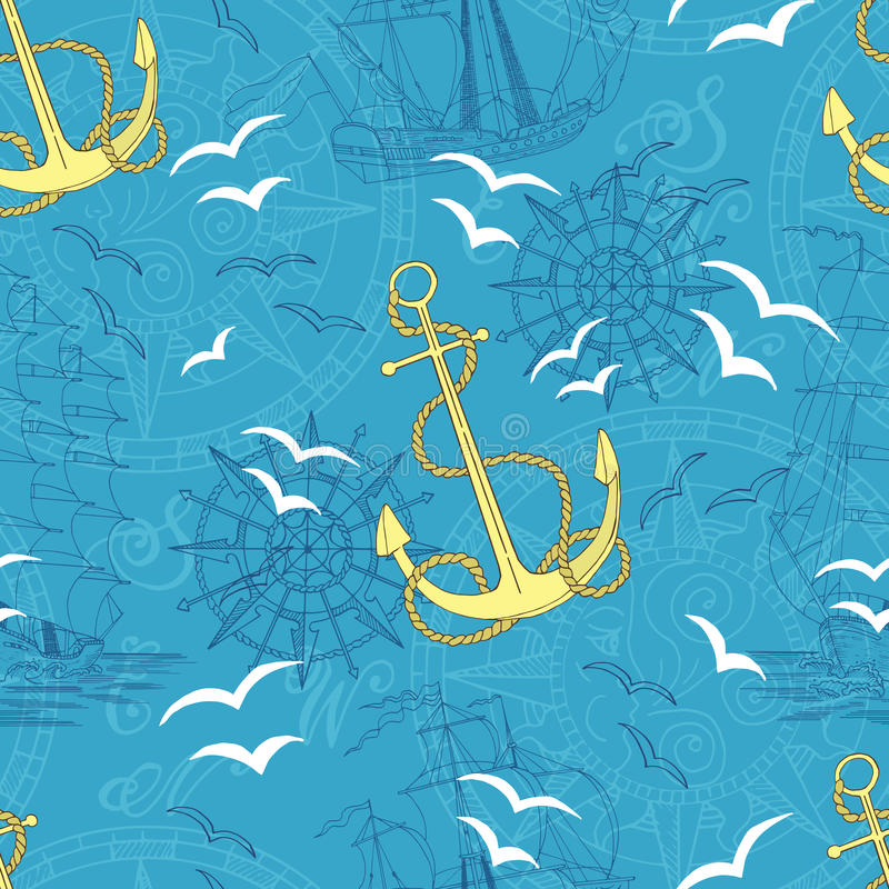 Seamless pattern with anchor, compass and ships royalty free illustration