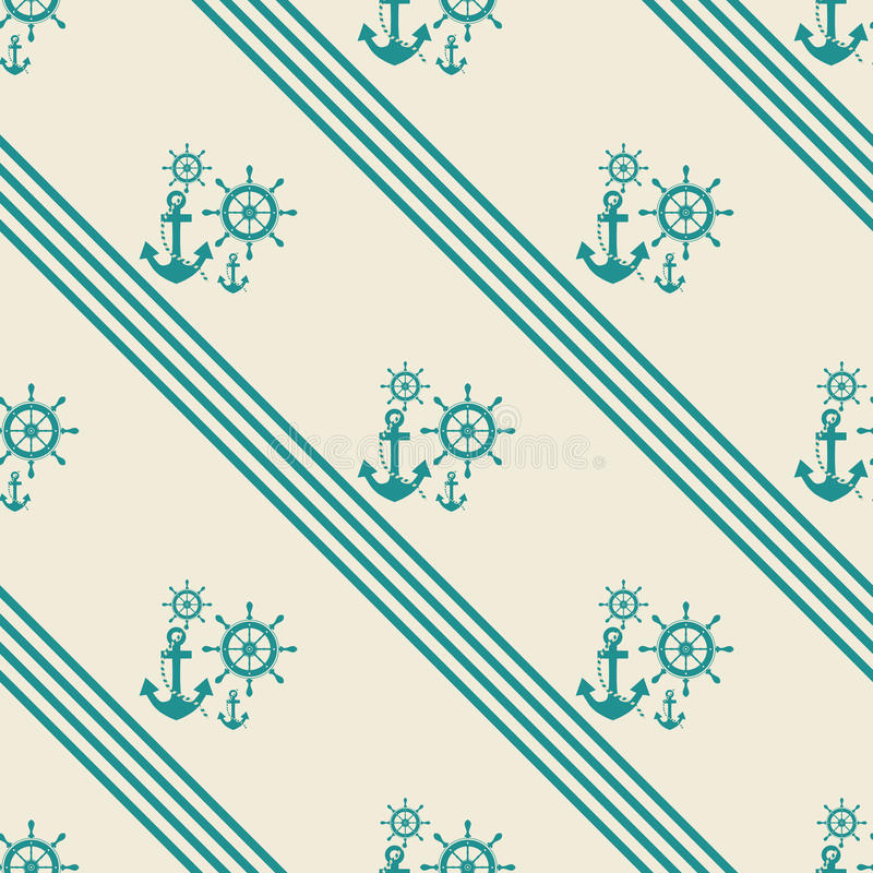 Seamless pattern of anchor helm. Seamless pattern of anchors and ship steering wheels - vector illustration royalty free illustration
