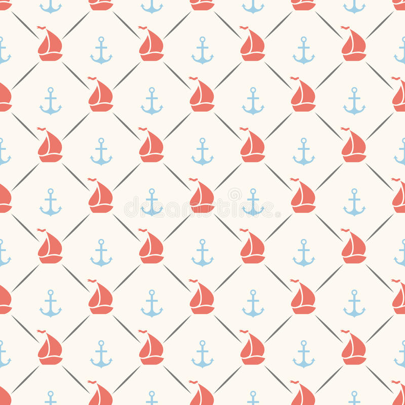 Seamless pattern of anchor, sailboat shape and. Line. Endless texture for printing onto fabric, web page background and paper or invitation. Abstract retro royalty free illustration