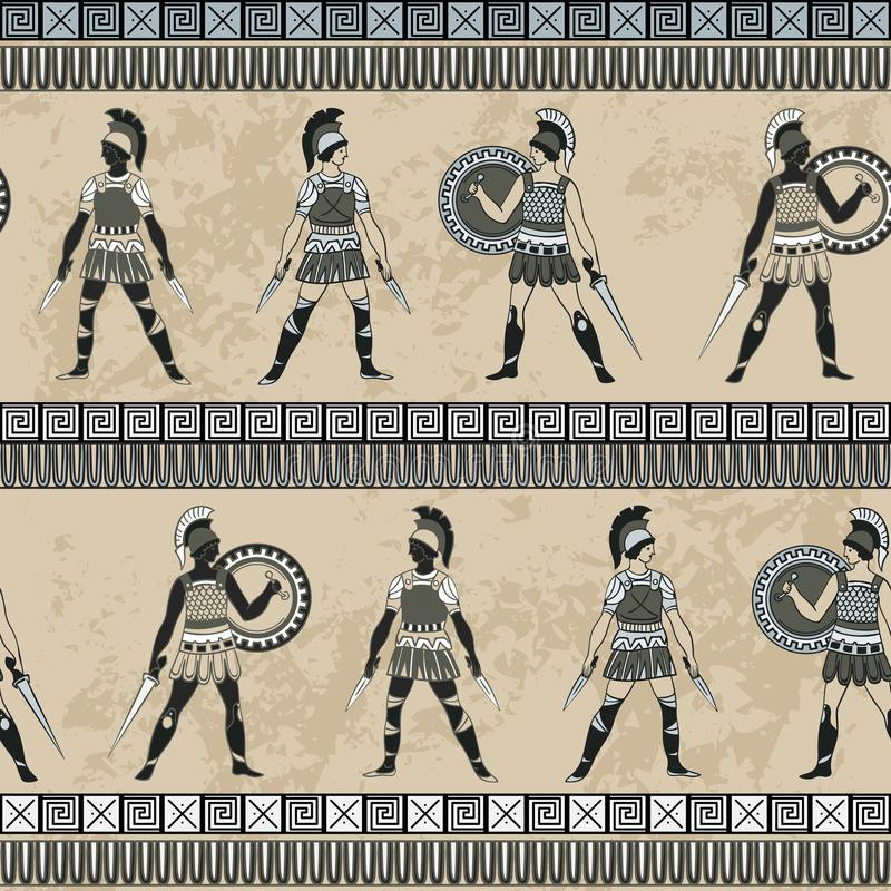 Seamless pattern with ancient greek fighting people and ornament. Traditional ethnic background. Vintage vector illustration royalty free illustration
