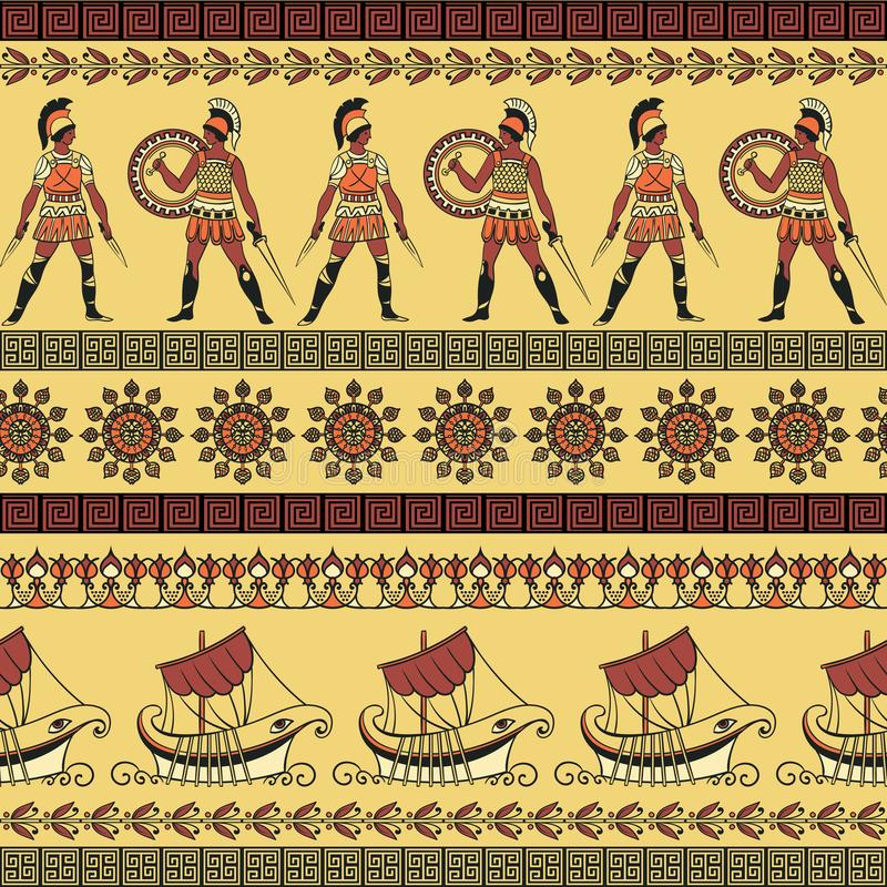 Seamless pattern with ancient greek ships, fighting people and ornament. Traditional ethnic background. Vintage vector illustration royalty free illustration