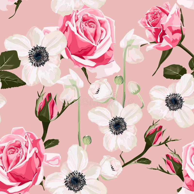 Seamless pattern with anemone and pink roses background. Seamless pattern vector floral watercolor style design: garden powder white pink Anemone flower and royalty free illustration