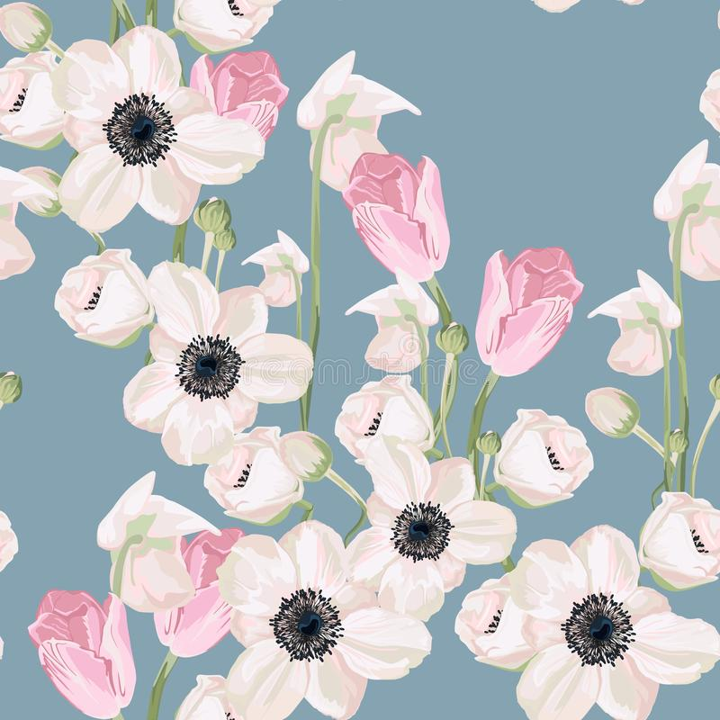 Seamless pattern with anemone and pink tulip background. stock illustration