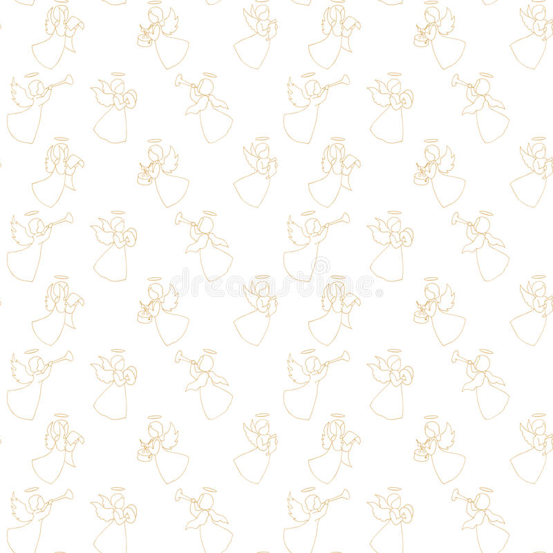 Seamless pattern with angels vector illustration