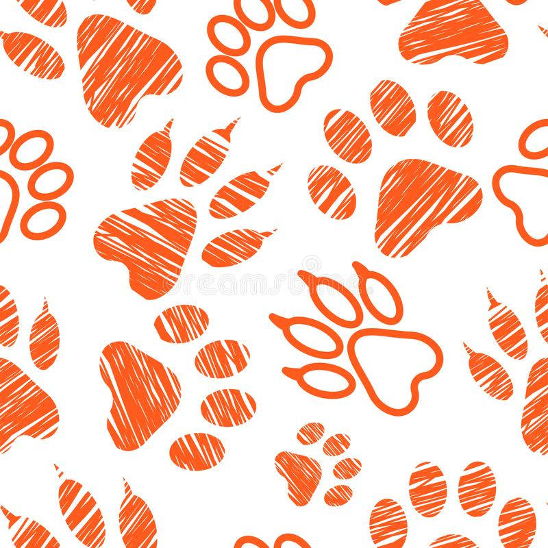 Seamless pattern with animal footprints, pet paw stamps on white background, hatched animal steps, trials and traces, vector illus royalty free illustration