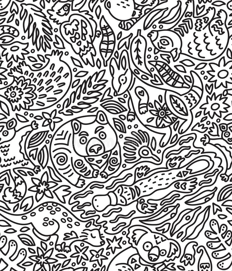 Seamless pattern with decorative Australian animals in contour. Vector doddle background royalty free illustration