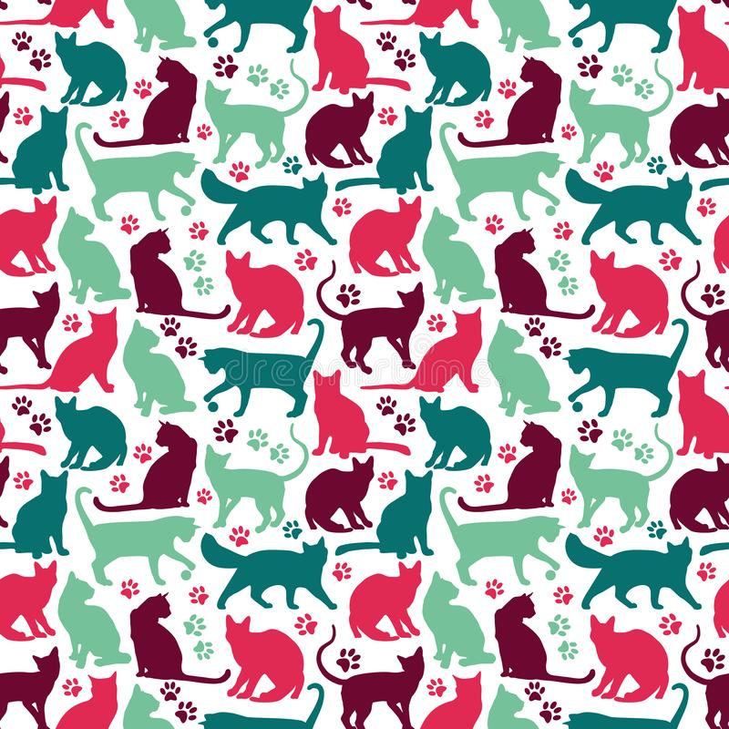 Seamless pattern of nicecolors cats background illustration royalty free stock photo