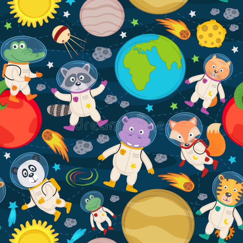 Seamless pattern with animals in space royalty free illustration