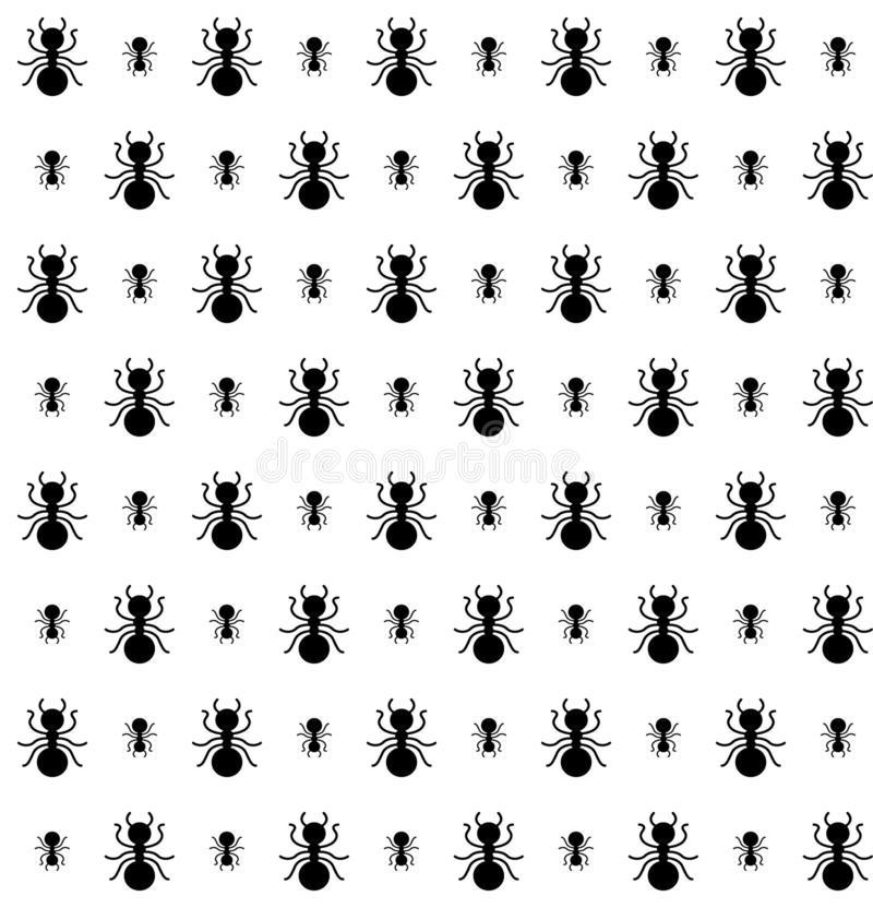 Seamless pattern of ants in black and white color vector illustration