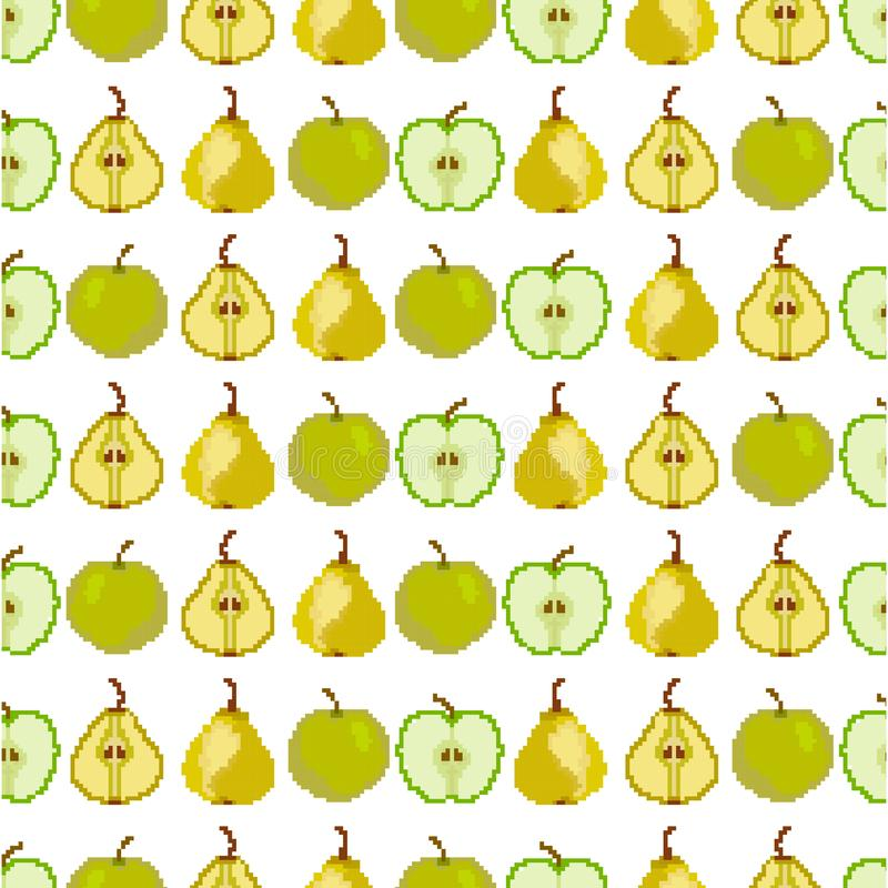 Seamless pattern with apple and pear. Pixel. Embroidery. Vector vector illustration