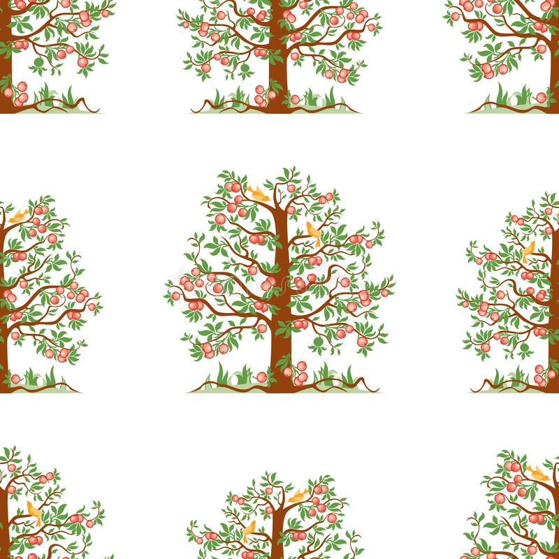 Seamless pattern of apple trees with ripe apples. Vector background of apple trees in a garden vector illustration