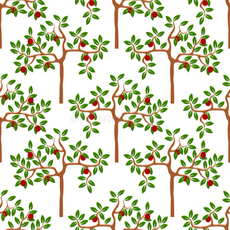 Seamless pattern with apple-trees. Vector background stock illustration