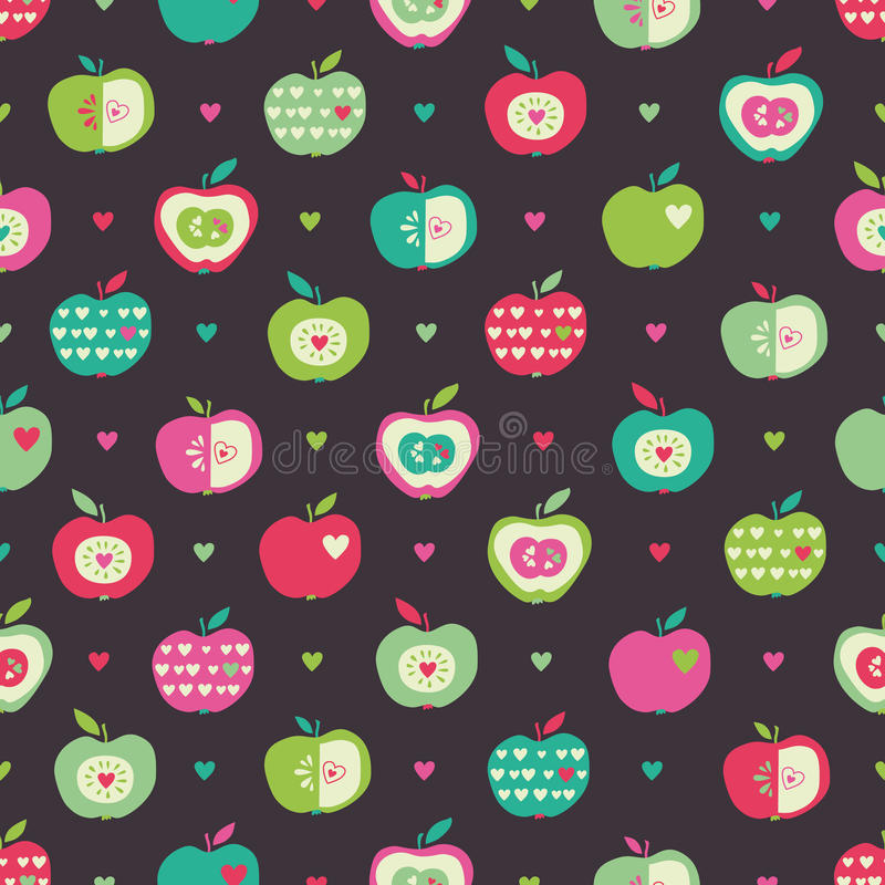 Seamless pattern with apples and hearts. Vector illustration royalty free illustration
